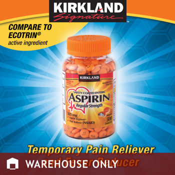 Kirkland Signature™ Safety Coated Enteric Aspirin Regular Strength 325 mg., 500 Tablets