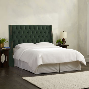 Olympia Tufted Upholstered Headboard in Jade - Various Sizes