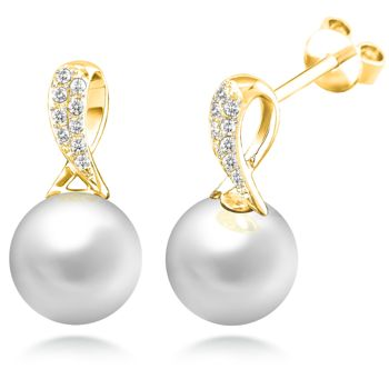 8.5mm Freshwater Cultured Pearl & 0.10 ctw Diamond Knot Earrings 14kt Yellow Gold