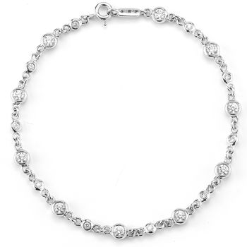 Round Brilliant Diamond Bracelet (0.96 ctw) 14kt White Gold