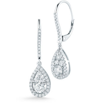 Round Brilliant 0.95 ctw VS2 Clarity, I Color Diamond 14kt White Gold Tear Drop Earrings