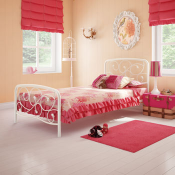 Penelope White Twin Metal Bed
