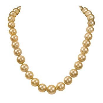 12-15mm Golden Color South Sea Pearl Necklace 14kt Yellow Gold