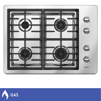 Maytag® 30-inch   Stainless Steel Gas Cooktop   with one 15,000 and one 12,500 BTU Power™ Burners