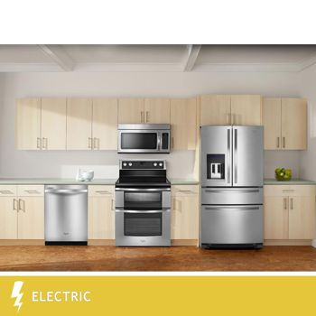 Whirlpool® 4 Piece ELECTRIC Stainless Steel 25CuFt French Door Kitchen Suite WRX735SDBM | WGE555S0BS | WDT710PAYM | WMH31017AS